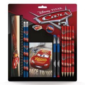 DISNEY CARS SD Set scolaire : règle 15 cm, 2 crayons, gomme, taille-crayon, 5 crayons de couleur, 2 stylos, 1 bloc-notes (Lot de 3)