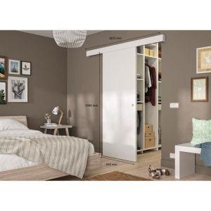 OPTIMUM - Kit porte coulissante blanc + rail + bandeau Blanc - H 204 x L 93 x P 4 cm