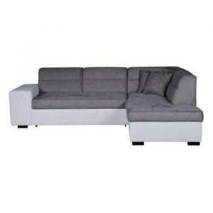 ALMERIA Canapé d'angle droit convertible 5 places - Tissu gris et simili blanc - Contemporain - L 264 x P 197 cm