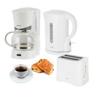Pack OCEANIC : Bouilloire + Cafetière + Grille pain - Cafetière filtre - 0.6 L / 6 tasses + Bouilloire électrique sans fil 1 L + Grille pain 2 fentes 7 niveaux de dorage