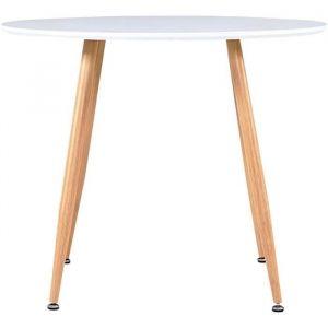 Festnight Table Cuisine Ronde Table de Salle &agrave Manger Blanc et ch&ecircne 90x73,5 cm MDF[231]