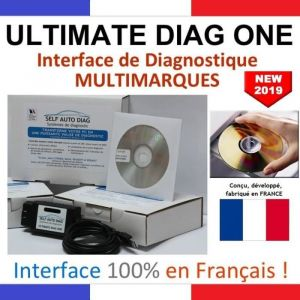Valise diagnostic auto ULTIMATE DIAG ONE - Interface diagnostique multimarque OBD et logiciel SELF AUTO DIAG distribué sur CD-ROM