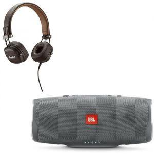 JBL Charge 4 Enceintes Bluetooth portable - 20 heures d'autonomie - Gris + MAJOR II Casque marron