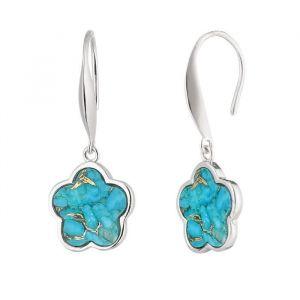 LA BELLE VIE Boucles d'Oreilles system crochet Argent 925 rhodié avec un fleur serti de pierre turquoise mojave pendant Femme