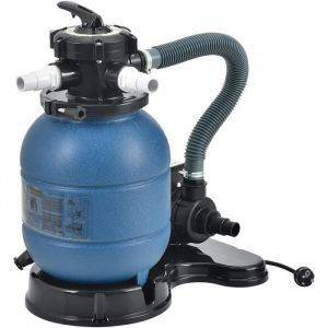 Pompe Filtre à Sable pour Piscines 12-20 m³ 400 W avec Manomètre Entretien Nettoyage avec Vanne 5 Voies Débit de Filtration 10.000 l