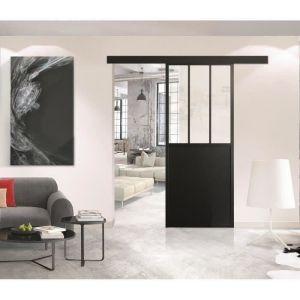 OPTIMUM - Kit porte coulissante + rail + bandeau Atelier - H 204 x L 93 x P 4 cm - Noir verre transparent