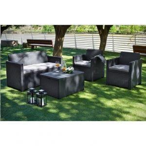 ALLIBERT Salon de jardin MERANO 4 places - avec table-coffre - imitation résine tressée - Gris