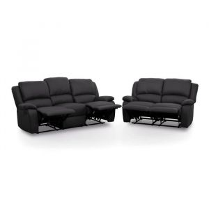 RELAX Ensemble de 2 canapés de relaxation droit 3 + 2 places - Simili noir - Contemporain - L 190 et 144 x P 93 cm