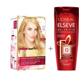 L'OREAL PARIS Lot coloration Excellence 9.3N Blond très clair doré + Shampoing Color-Vive 250 ml - L'OREAL PARIS Lot coloration : Crème Excellence 9.3 Blond très clair doré + Elseve Shampoing Color Vive 250 ml