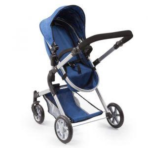 BAYER Landau pour poupée Neo Star bleu avec sac à bandoulière et panier d'achat intégré réglable - convertible poussette