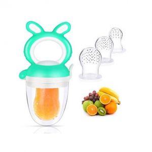 D'alimentation Pour Bébé Tétine à Fruit Silicone, Tetine Fruits Bebe+3 Tétines en Sans BPA, Sucette Pour Fruit Bebe, Vert
