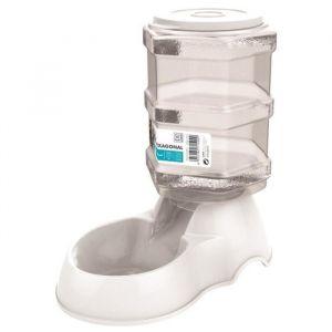 M-PETS Distributeur de croquettes Hexagonal - 3500ml - Blanc - Pour chien