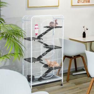 Yaheetech Grande Cage Rongeur Blanche 64 x 44 x 131 cm Cage Rat Furet écureuil Chinchilla