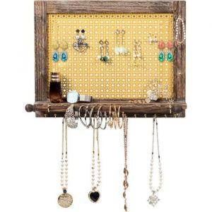 COSTWAY Organisateur de Bijoux Mural,Porte-Bijoux Mural en Bois Présentoir pour Boucles d'Oreilles, Colliers, Bracelets