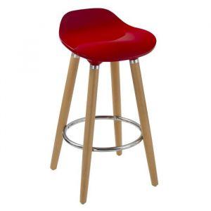 OSLO Tabouret de bar rouge - Pieds bois massif - Scandinave - L 51 x P 51 cm - L 51 x P 51 x H 80,5 - Pieds hêtre massif - Assise en ABS - Repose-pied en métal chromé