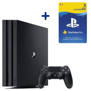 Console PS4 Pro 1To Noire/Jet Black + Abonnement 3 Mois au PlayStation Plus - Code de Téléchargement pour PS4