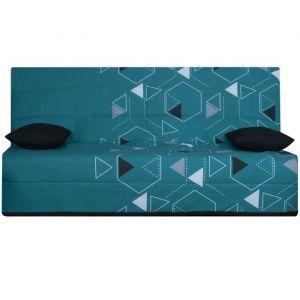 OPS 100% FRANCAIS - Banquette clic-clac 3 places SPLOT - Tissu Poly Bleu - L 190 x 95 cm