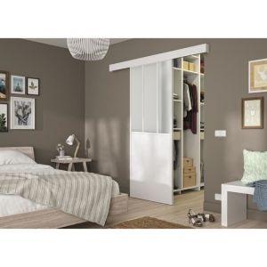 OPTIMUM - Kit porte coulissante + rail + bandeau Atelier - H 204 x L 93 x P 4 cm - Blanc verre dépoli