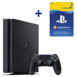 Console PS4 Slim 500Go Noire/Jet Black + Abonnement 3 Mois au PlayStation Plus - Code de Téléchargement pour PS4