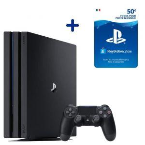 Console PS4 Pro 1To Noire/Jet Black + 50€ Fonds pour porte-monnaie virtuel PlayStation Store - Code de Téléchargement pour PS4