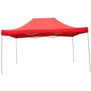 INTEROUGE Chapiteau Barnum Tente tonnelle pliante Acier 30mm 3x4,5m en Polyester 180g/m² Rouge