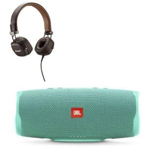 JBL Charge 4 Enceintes Bluetooth portable - 20 heures d'autonomie - Turquoise + MAJOR II Casque marron