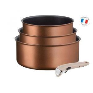 TEFAL L6759003 Lot 3 casseroles 16/18/20 cm INGENIO ECO-RESPECT - 1,5/2,1/3 L - poignée amovible argile moonlight - Tous feux