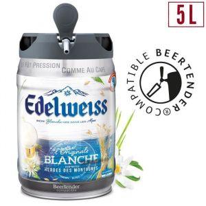 EDELWEISS Fût de bière blanche Originale aromatisée aux herbes des montagnes - Compatible Beertender - 5 L