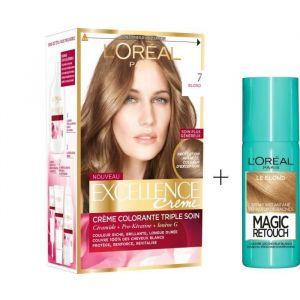 L'OREAL PARIS Lot coloration Excellence 7.0N Blond + Spray Magic Retouch 75 ml Blond