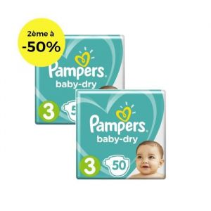 PAMPERS Baby Dry T3 5 à 9kg, 50x2, Lot de 2 - 100 couches