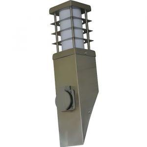 APPLIQUE MURALE AVEC PRISE ELECTRIQUE SECTEUR INCLINEE LAMPE INOX DESIGN POUR TERRASSE JARDIN EXTERIEUR