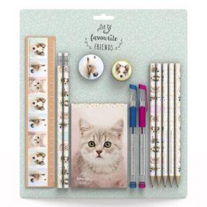 MY FAVOURITE FRIENDS Set règle 20 cm, 2 crayons, gomme, taille-crayon, 5 crayons de couleur, 2 stylos gel, bloc-notes (Lot de 3)