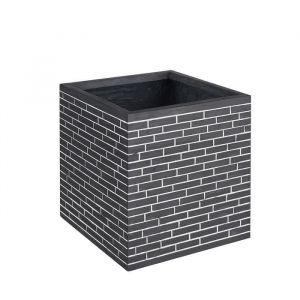 Pot carré effet mosaique briques - 50 x 50 x 50 cm - Noir et blanc
