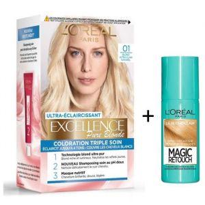 L'OREAL PARIS Lot de coloration Excellence 1.0N Blond ultra clair naturel + Spray Magic Retouch 75 ml Blond clair