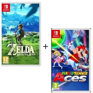 Pack 2 jeux Switch : The Legend of Zelda : Breath of the Wild + Mario Tennis Aces