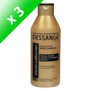 DESSANGE Shampooing Nutri-Illuminant - Pour cheveux blonds, colorés ou fortement éclaircis - Blond californien - 250 ml (Lot de 3)