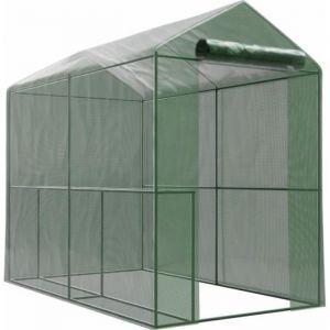 Serre de Jardin bache armée - 2,26m2 - 1,8 x 1,2m avec 2x étagères et porte zipée