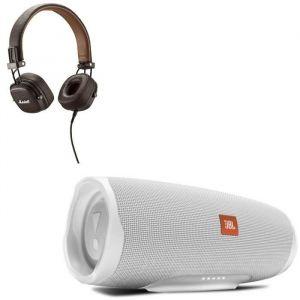 JBL Charge 4 Enceintes Bluetooth portable - 20 heures d'autonomie - Blanc + MAJOR II Casque marron