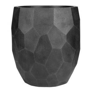 Pot boule à facettes lisse - 50 x 50 x 55 cm - Noir