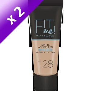MAYBELLINE Fit Me - Fond de Teint mat antipores - 128 Nude (Lot de 2)