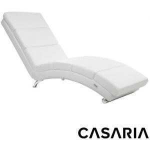 Casaria - Méridienne « London » • Fauteuil de Relaxation • Chaise Longue d'intérieur • Ergonomique - Pieds chromés - Blanc