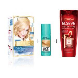 L'OREAL PARIS Lot de coloration Excellence 01N Blond ultra clair naturel + Magic Retouch 75 ml + Shampooing Elsève Color-Vive 250 ml