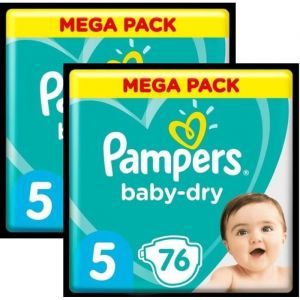 Pampers Baby-Dry T5 - Lot de 2 - 152Couches