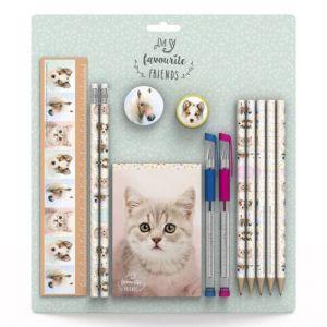 MY FAVOURITE FRIENDS Set règle 20 cm, 2 crayons, gomme, taille-crayon, 5 crayons de couleur, 2 stylos gel, bloc-notes