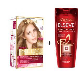 L'OREAL PARIS Lot coloration Excellence 7.30N Blond doré + Shampoing Color-Vive 250 ml