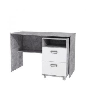 EMILY Set de bureau et caisson 2 tiroirs sur roulettes - Décor béton et blanc - L 110 x P 65 x H 72,3 cm