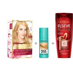 L'OREAL PARIS Lot coloration Excellence 9.3N Blond doré + Magic Retouch 75 ml Blond clair + Shampoing Color-Vive 250 ml - L'OREAL PARIS Crème Excellence 9.3 Blond doré + Magic Retouch Le Blond clair 75ml + Shampoing Color Vive 250ml