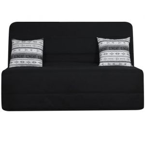 OPS 100% FRANCAIS - Banquette BZ 3 places LIOM - Tissu noir motif berbère - L 142 x P 96 cm