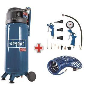 SCHEPPACH Compresseur vertical 50L - 2CV - 10bar - Sans huile + ensemble 13 accessoires + tuyau 10m - HC51V - Bleu