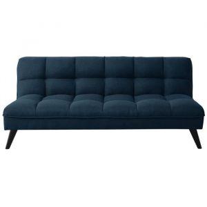 FLUFFY Banquette clic clac 3 places - Tissu bleu canard - Style contemporain - L 184 x P 82 cm